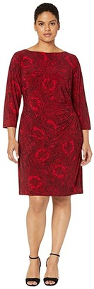 Lauren Ralph Lauren Plus Size Print Jersey Dress (Parlor Red/Black) Women's Dress