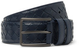 Bottega Veneta 3.5cm Blue Intrecciato Leather Belt