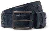 Bottega Veneta 3.5cm Blue Intrecciato Leather Belt