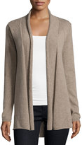 Neiman Marcus Cashmere Pointelle High-Low Cardigan, Tan