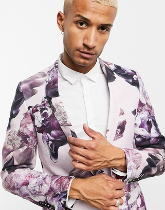 Twisted Tailor slim linen suit jacket in dusty pink with floral print