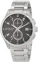 Nautica Men's 'NCT 19 FLAGS' Quartz Stainless Steel and Leather Casual Watch, Color:Black (Model: NAD19559G)