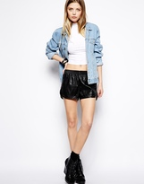 Noisy May Faux Leather Shorts - Black