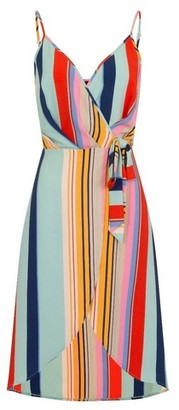 Dorothy Perkins Womens *Girls On Film Multi Colour Striped Skater Wrap Dress, Multi Colour