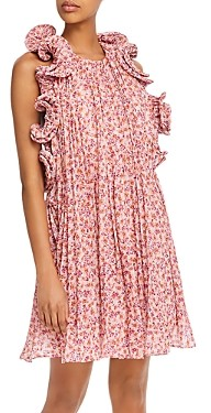 AMUR Mimi Floral Print Ruffled Dress