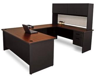Red Barrel Studio Crivello Flipper Door Unit Reversible U-Shape Executive Desk with Hutch Red Barrel Studio Top Finish: Mahogany