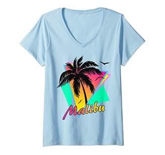 Womens Malibu 80s Tropical Summer Beach Palm Tree Sunset V-Neck T-Shirt
