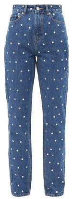 Ganni Studded High-rise Straight-leg Jeans - Denim