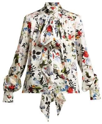 Erdem Lucien Floral-print Silk-satin Blouse - Womens - White Multi