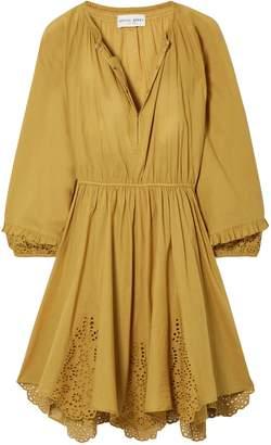 Apiece Apart Vereda Broderie Anglaise-trimmed Gathered Cotton Mini Dress