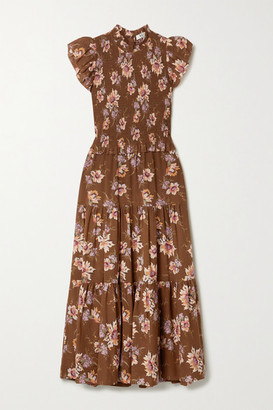 Sea Sylvie Ruffled Smocked Floral-print Cotton-voile Midi Dress - Brown