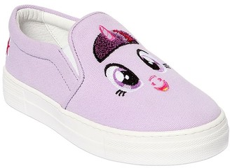 Joshua Sanders UNICORN PATCH CANVAS SLIP-ON SNEAKERS