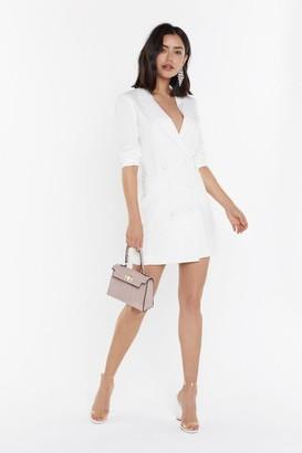 Nasty Gal Womens I'm Busy Blazer Dress - white - 12
