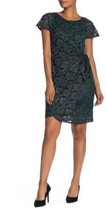 Robbie Bee Glitter Lace Wrap Tie Dress