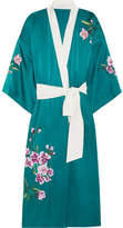 Olivia von Halle - Queenie Embroidered Silk-satin Robe - Jade