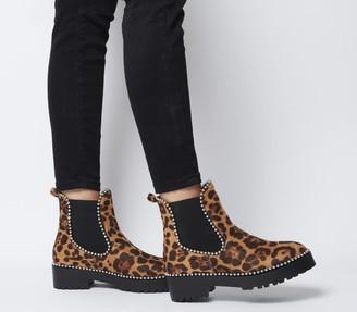 Ego Tilda Stud Boots Tan Leopard