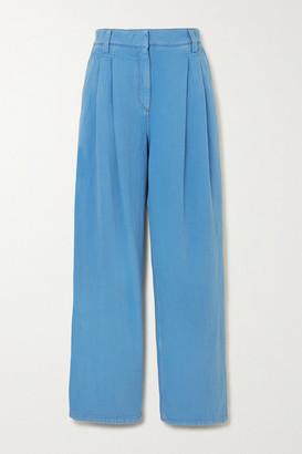 Brunello Cucinelli Pleated Denim Straight-leg Pants - Blue