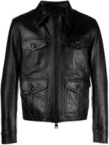 Ami Alexandre Mattiussi black zipped leather jacket
