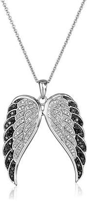 Sterling Silver Black and White Diamond Angel Wings Pendant Necklace (1/2 cttw)