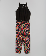 Dollhouse Black & Pink Floral Halter-Top Jumpsuit - Kids