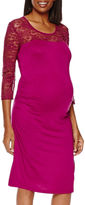 Asstd National Brand Maternity 3/4-Sleeve Lace-Yoke Knit Dress - Plus