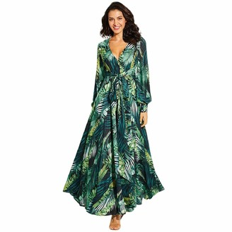 Paolian Women's Dress Womens Printed Floral Deep V Neck Maxi Dress Long Sleeve Chiffon Long Dress with Waisted Belt Green