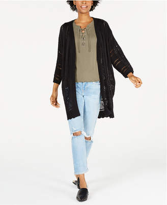 Say What Juniors' Pointelle Open-Front Cardigan