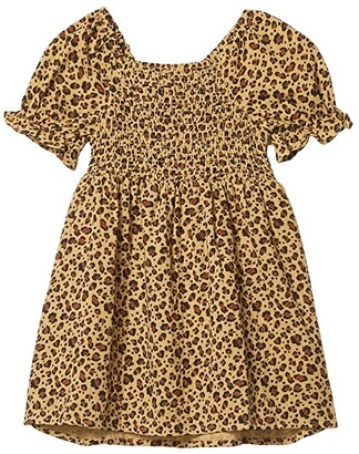 Cotton On Lillie Short Sleeve Dress (Toddler/Little Kids/Big Kids) (Sand Dune/Snow Leopard) Girl's Clothing