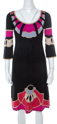Temperley London Black Silk Blend Lurex Knit Flared Dress S