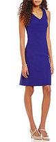 Preston & York Valentina V-Neck Sleeveless Solid Crepe Sheath Dress