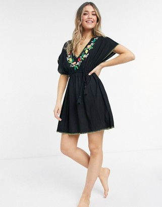 Figleaves seville embroidered beach kaftan dress in black