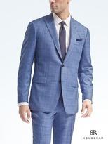 Banana Republic Standard Monogram Blue Plaid Wool Blend Suit Jacket
