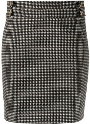 Liu Jo Button Detail Houndstooth Skirt