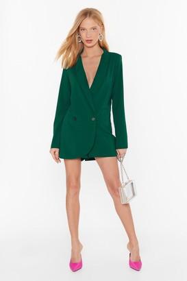 Nasty Gal Womens Blazer Belive It Plunging V-Neckline Playsuit - black - S