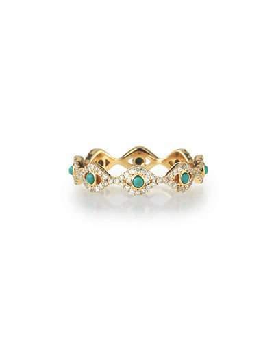 Sydney Evan Turquoise Cabochon & Diamond Evil Eye Eternity Ring