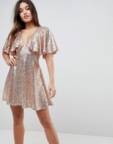 Asos Design Sequin Fluted Sleeve Lace Mini Dress