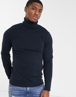 Esprit organic roll neck jumper in navy