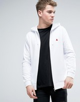 Asos Zip Up Hoodie In White With Logo