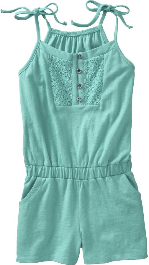 Old Navy Girls Slub-Knit Lace-Trim Rompers