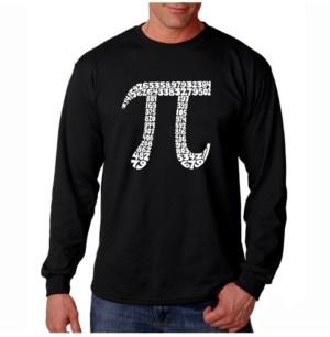 Pi La Pop Art Men's Word Art Long Sleeve T-Shirt - 100 Digits of