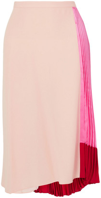 Marni Pleated Color-block Satin And Crepe Skirt