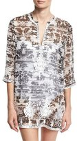 Marie France Van Damme Embroidered & Printed Silk Chiffon Tunic Coverup, Black/White