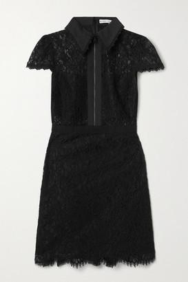 Alice + Olivia Ellis Cotton-poplin And Grosgrain-trimmed Corded Lace Mini Dress