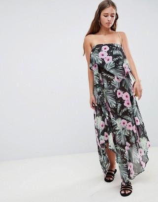 Asos DESIGN Floaty Layer Bandeau Maxi Beach Dress In Tropical Print