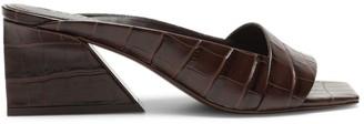 Mercedes Castillo Maisie Square-Toe Croc-Embossed Leather Mules