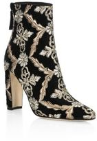 Manolo Blahnik Isola 105 Embroidered Velvet Booties