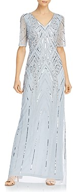 Adrianna Papell Beaded Elbow-Sleeve Gown
