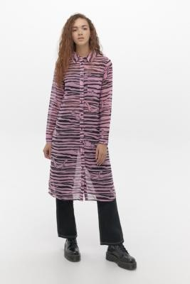 Lazy Oaf X The Flintstones Sheer Shirt Dress - Assorted UK 6 at Urban Outfitters