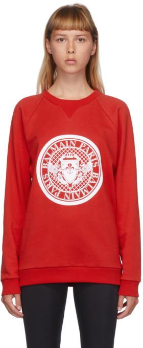Balmain Red and White Flocked Medallion Sweatshirt