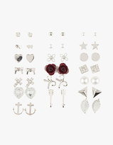 FULL TILT 20 Pairs Anchor Bow Stud Earrings